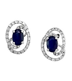 Effy® Royale Bleu Collection 0.29 ct. tw. Diamond and Sapphire Earrings in 14k White Gold
