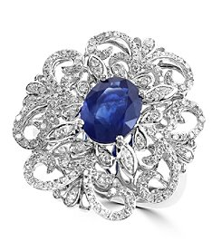 Effy® Royale Bleu Collection 0.58 ct. tw. Diamond and Sapphire Ring in 14k White Gold