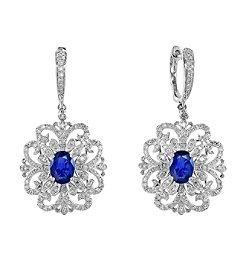 Effy® Royale Bleu Collection 0.81 ct. tw. Diamond and Sapphire Drop Earrings in 14k White Gold