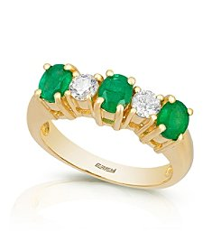 Effy® Brasilica Collection 0.39 ct. tw. Diamond and Emerald Ring in 14K Yellow Gold