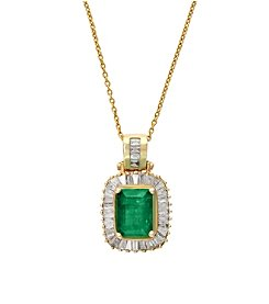 Effy® Brasilica Collection 0.54 ct. tw. Diamond and Emerald Pendant in 14K Yellow Gold