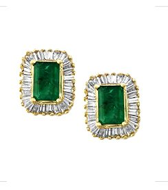 Effy® Brasilica Collection 0.58 ct. tw. Diamond and Emerald Earrings in 14K Yellow Gold