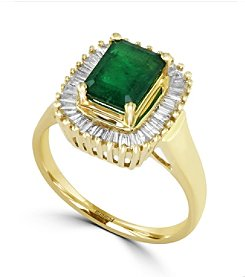 Effy® Brasilica Collection 0.50 ct. tw. Diamond and Emerald Ring in 14K Yellow Gold