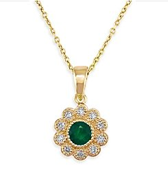 Effy® Brasilica Collection 0.15 ct. tw. Diamond and Emerald Pendant in 14K Yellow Gold