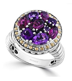 Effy® 925 Collection Sterling Silver Multi-Gem Ring with 18K Yellow Gold Accents