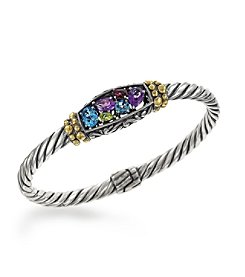 Effy® 925 Collection Multi Gem Sterling Silver Bangle with 18K Yellow Gold Accents