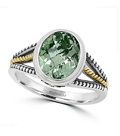 Effy® 925 Collection Sterling Silver Green Amethyst Ring with 18K Yellow Gold Accents