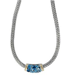 Effy® 925 Collection Sterling Silver Blue Topaz Necklace with 18k Yellow Gold Accents