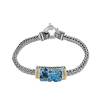 Effy® 925 Collection Blue Topaz Sterling Silver Tennis Bracelet with 18K Yellow Gold Accents