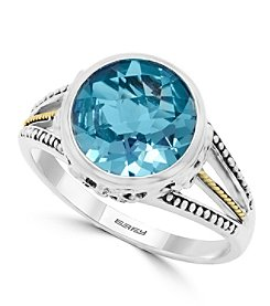 Effy® 925 Collection Sterling Silver Blue Topaz Ring with 18K Yellow Gold Accents