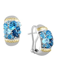 Effy® 925 Collection Sterling Silver Blue Topaz Earrings with 18K Yellow Gold Accents