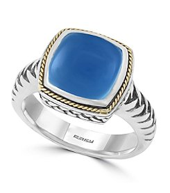 Effy® 925 Collection Sterling Silver Chalcedony Quartz Ring with 18K Yellow Gold Accents