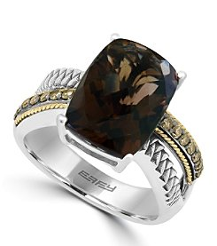 Effy® 925 Collection Sterling Silver Smoky Quartz Ring with 18K Yellow Gold Accents