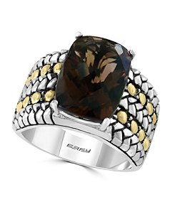 Effy® 925 Collection Smoky Quartz Sterling Silver Ring with 18k Yellow Gold Accents