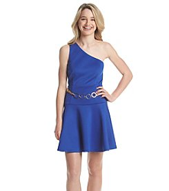 XOXO® One Shoulder Belted Scuba Dress