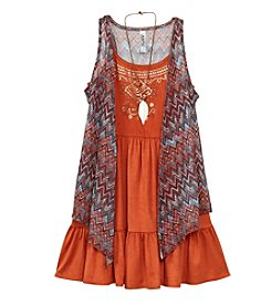 Beautees Girls' 7-16 Boho Dress With Chevron Cozy And Necklace