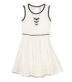 Beautees Girls' 7-16 Chevron Lace Fit And Flare Dress With Necklace
