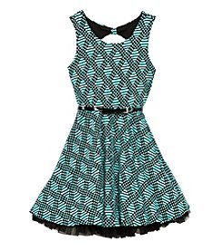 Beautees Girls' 7-16 Textured Fit And Flare Dress