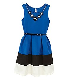 Beautees Girls' 7-16 Colorblock Fit And Flare Dress