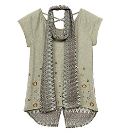 Beautees Girls' 7-16 Short Sleeve Grommet Embellished Tee With Scarf