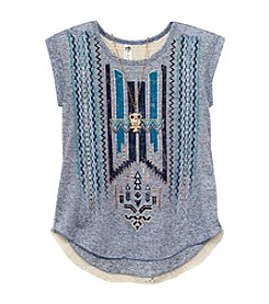 Beautees Girls' 7-16 Geo Crochet Back Tee With Necklace