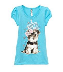 Beautees Girls' 4-6X Short Sleeve I Ruff You Puppy Tee