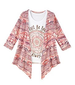 Miss Attitude Girls' 7-16 3/4 Sleeve Cardigan With Just Be You Tee