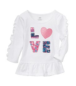 Mix & Match Baby Girls' Long Sleeve Love Ruffle Peplum Top