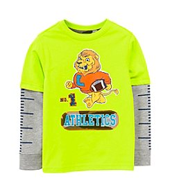 Mix & Match Boys' 2T-7 Layered Lion Skater Tee