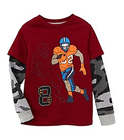 Mix & Match Boys' 4-7 Layered Football Skater Tee