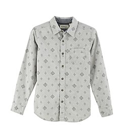 Ruff Hewn Boys' 8-20 Long Sleeve Geo Poplin Shirt