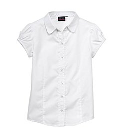 Nautica® Girls' 7-16 Short Sleeve Ruffle Blouse