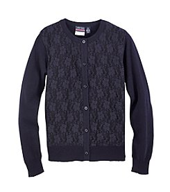 Nautica® Girls' 7-16 Lace Front Cardigan