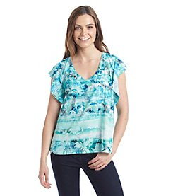 Oneworld® Floral Paisley V-Neck Top
