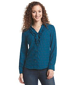 Ruff Hewn Ruffle Collared Plaid Top
