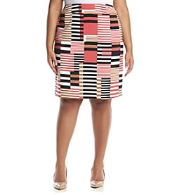Nine West® Plus Size Multi Line Print Straight Skirt