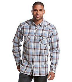 Ruff Hewn Men's Acid Washed Western Double Pocket Long Sleeve Button Down Shirt
