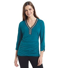 AGB® Jewel Neck V-Neck Top