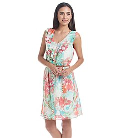 AGB&Reg; Floral Chiffon Fit And Flare Dress