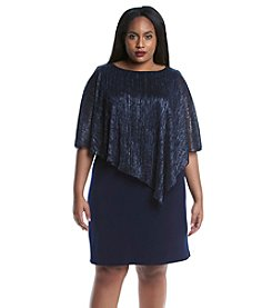 Connected® Plus Size Crinkle Overlay Dress