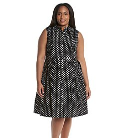 Jessica Howard® Plus Size Button Front Dot Dress