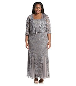 R&M Richards® Plus Size Lace Jacket Gown Dress
