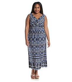 R&M Richards® Plus Size Geo Patterned Maxi Dress