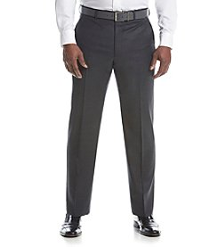 Lauren Ralph Lauren Men's Big & Tall Charcoal Solid Suit Separates Flat Front Pants