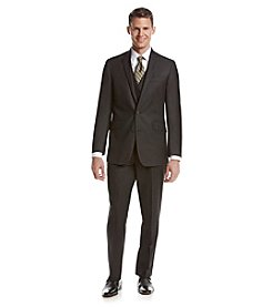 REACTION Kenneth Cole Men's Charcoal Pin Dot Slim-Fit Suit Separates