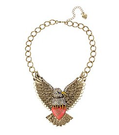 Betsey Johnson® Goldtone Pave Xox Betsey Eagle Frontal Necklace
