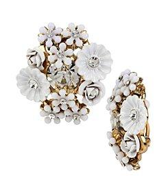 Betsey Johnson® Goldtone Flower Cluster Button Stud Clip-On Earrings