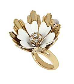 Betsey Johnson® Goldtone Flower Bypass Ring