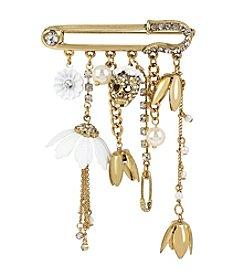 Betsey Johnson® Goldtone Multi Charm Pave Pin
