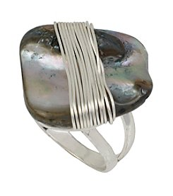 Robert Lee Morris Soho™ Silvertone Wire Wrapped Shell Stone Ring